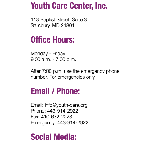 Youth Care Center, Inc. 